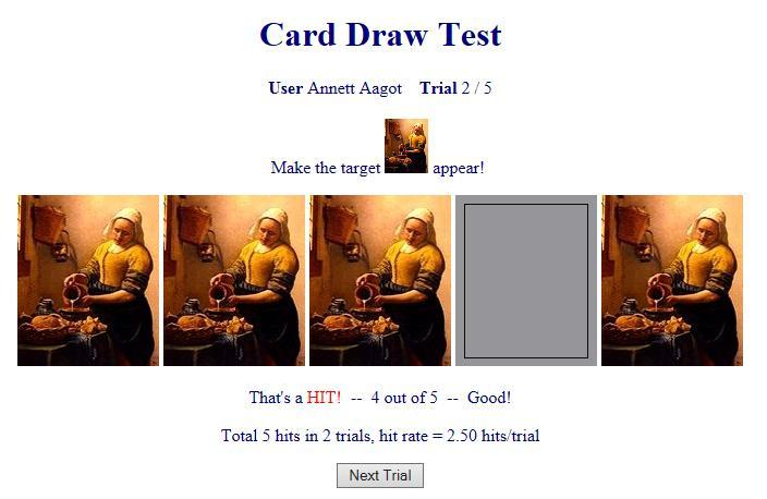 card draw test